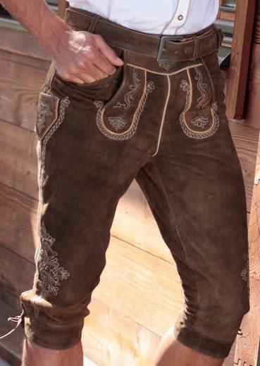 Marjo Trachtenlederhose 3/4 Herren mit traditioneller Stickerei