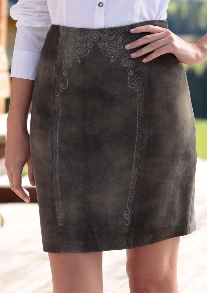 Spieth & Wensky Trachtenlederrock Damen mit effektvollem Used Look