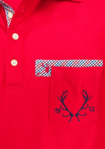Spieth & Wensky Costume Shirt Men With Antler-embroidery