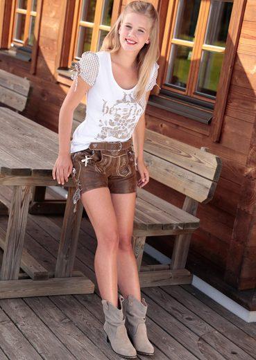 Marjo Trachtenlederhose kurz Damen aus edlem Ziegenleder