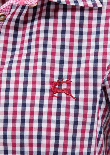 OS-Trachten Trachtenbluse Damen mit kleiner Hirschstickerei