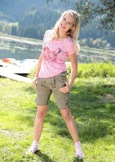 Marjo Trachtenshirt Damen mit schimmernden Paillettenherz