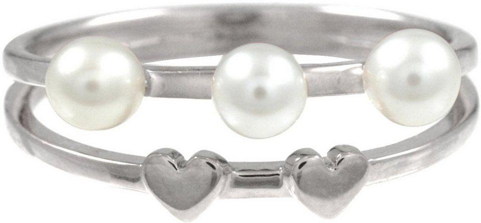 CAÏ Fingerring »Herz, Pearl Love, C7157R/90/46« mit Süßwasserzuchtperlen in Silber 925-weiß