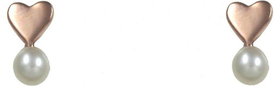 CAÏ Paar Ohrstecker »Herz, Pearl Love, C7146E/90/46/« mit Süßwasserzuchtperle in Silber 925-roségoldfarben-weiß