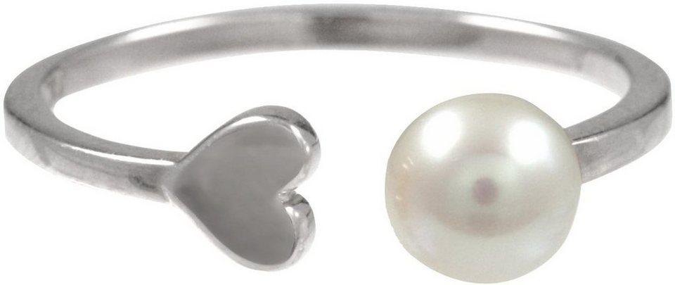 CAÏ Fingerring »Herz, Pearl Love, C7154R/90/46/« mit Süßwasserzuchtperle in Silber 925-weiß