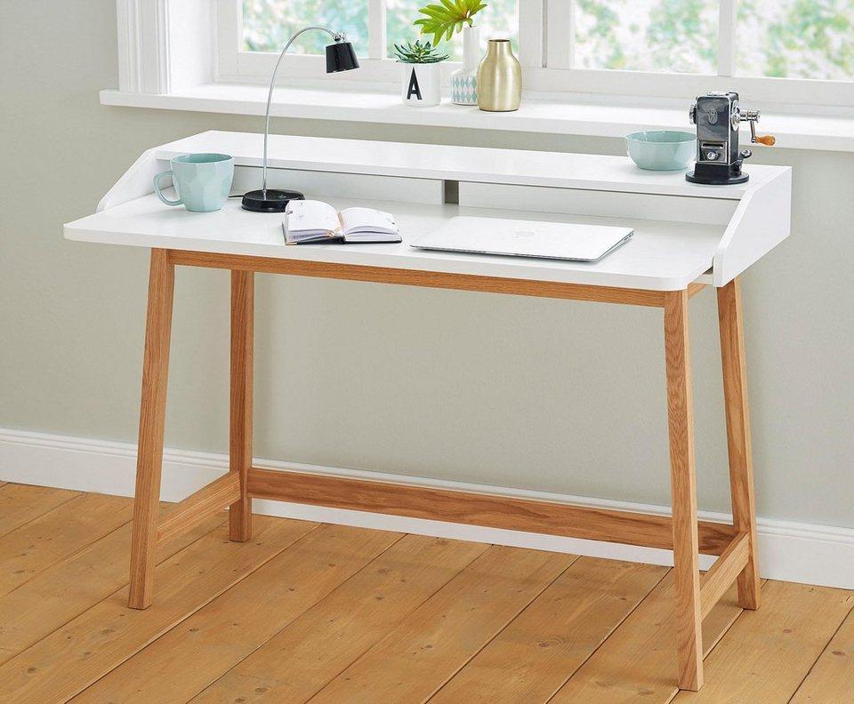 Home affaire Schreibtisch »St.James white«, Breite 115 cm in weiß/eiche