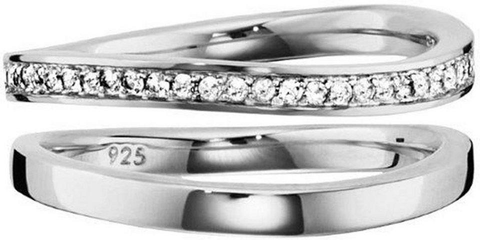 CAÏ Ring-Set »sensitive dancer, C1721R/90/93/54« mit Topas (Set, 2 tlg.) in Silber 925-weiß