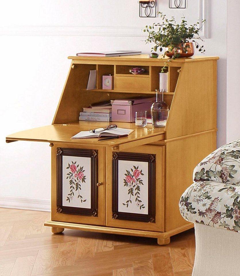 Home affaire Sekretär, Breite 95 cm, handbemalt mit Blumenmotiv in honigfarben