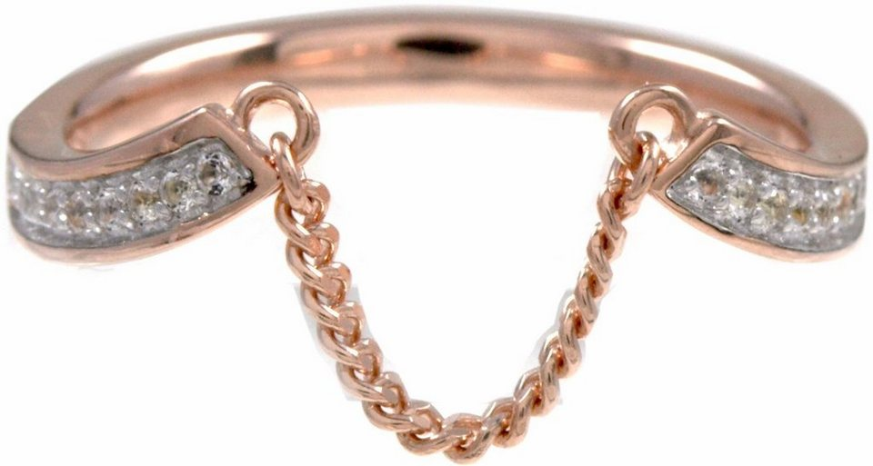 CAÏ Fingerring »sensitive dancer, C1717R/90/93/« mit Topas in Silber 925-roségoldfarben-weiß