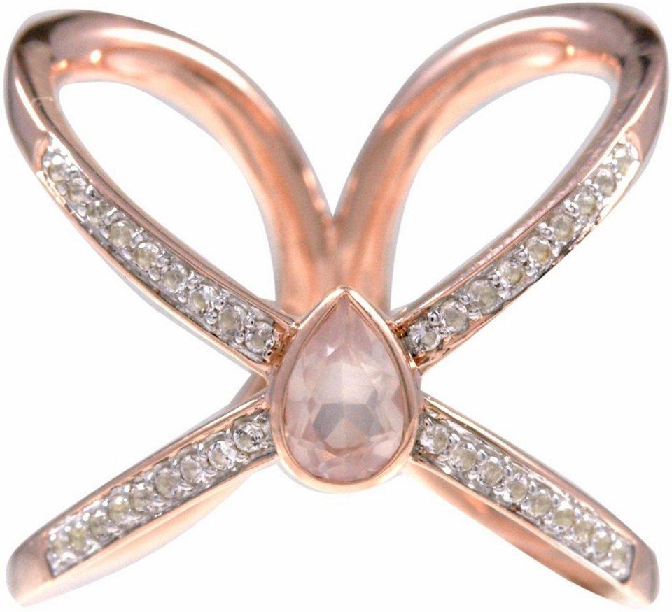 CAÏ Fingerring »sensitive dancer, C1713R/90/Y6/« mit Rosenquarz und Topasen in Silber 925-roségoldfarben-rosa-weiß