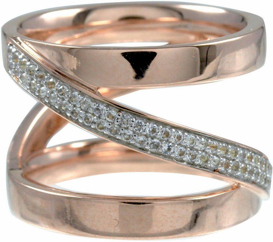 CAÏ Fingerring »sensitive dancer, C1724R/90/93/« mit Topas in Silber 925-roségoldfarben-weiß
