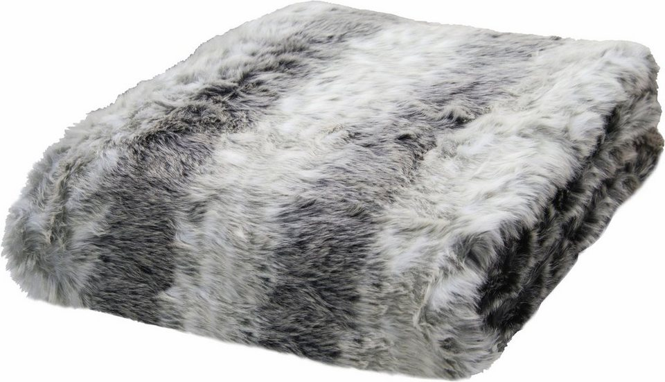 Wohndecke, Tom Tailor, »Fake Fur«, in Felloptik in grau