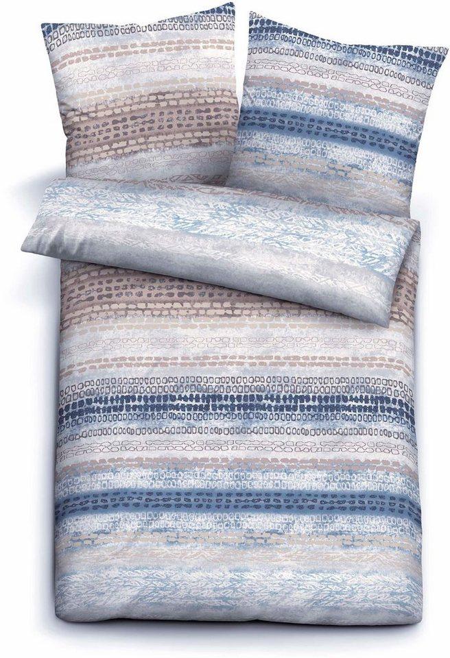 Bettwäsche, Biberna, »Flip«, mit kleiner Musterung in blau