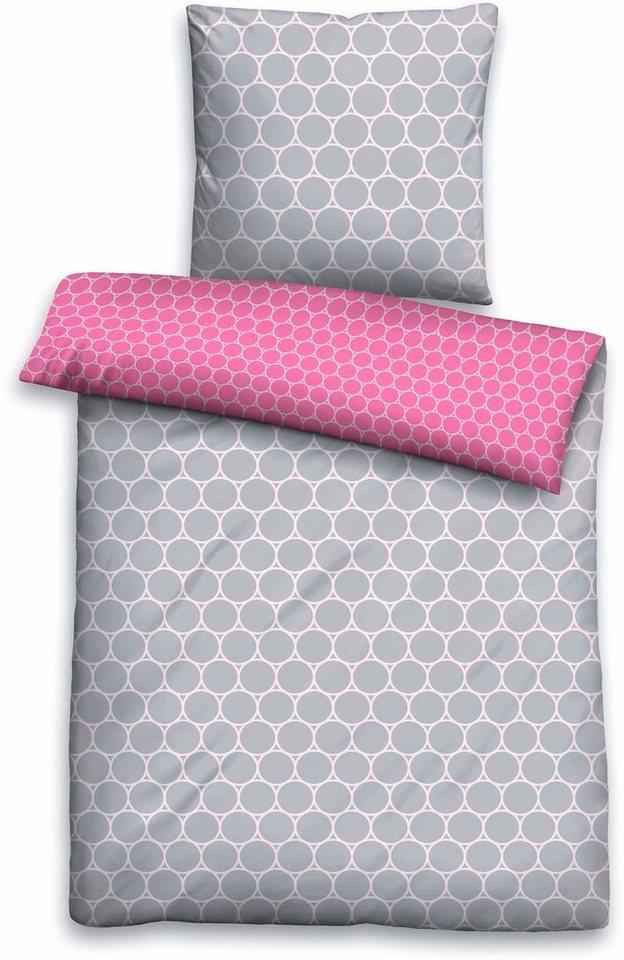 Bettwäsche, Biberna, »Liss«, mit Kreisen in grau-pink