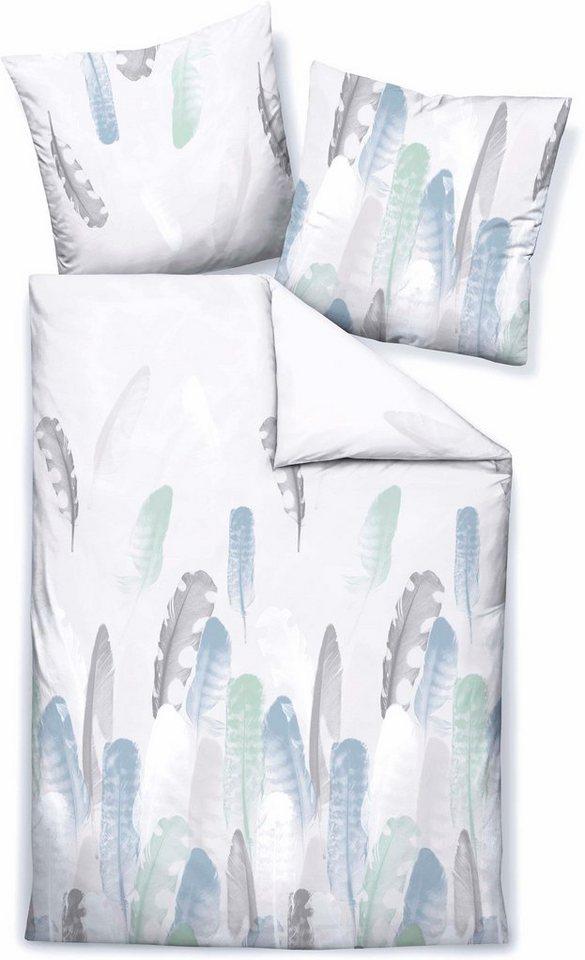 Bettwäsche, Biberna, »Feather«, mit dezenten Federn in weiß