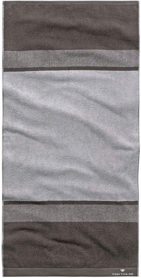 Badetuch, Tom Tailor, »Hugo«, mit breiten Streifen in anthrazit-grau