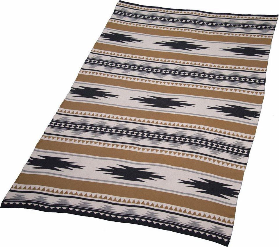 Wohndecke, Tom Tailor, »Ethno«, mit Inka Muster in braun-schwarz