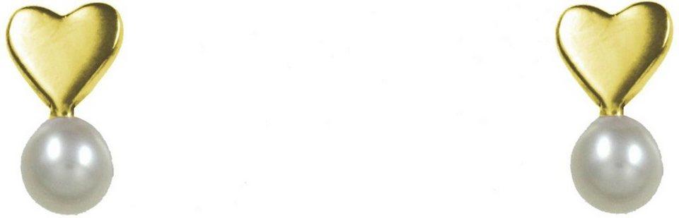 CAÏ Paar Ohrstecker »Herz, Pearl Love, C7147E/90/46/« mit Süßwasserzuchtperle in Silber 925-goldfarben-weiß