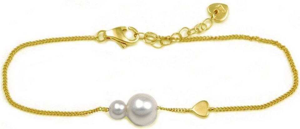 CAÏ Armband »Pearl Love, C7165B/90/46/16+3« mit Süßwasserzuchtperle in Silber 925-goldfarben-weiß