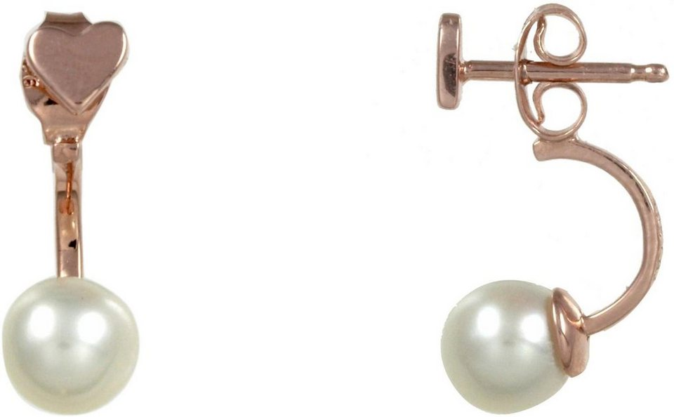 CAÏ Paar Ohrstecker »Herz, Pearl Love, C7143E/90/46/« mit Süßwasserzuchtperle in Silber 925-roségoldfarben-weiß