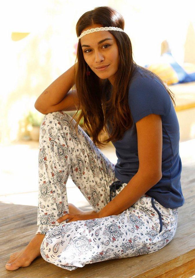 LASCANA Pyjama mit gemusterter Hose und Rundhalsshirt in blau gemustert