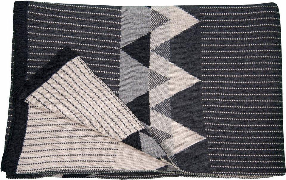 Wohndecke, Tom Tailor, »Reflect«, mit Rauten-Muster in anthrazit-creme