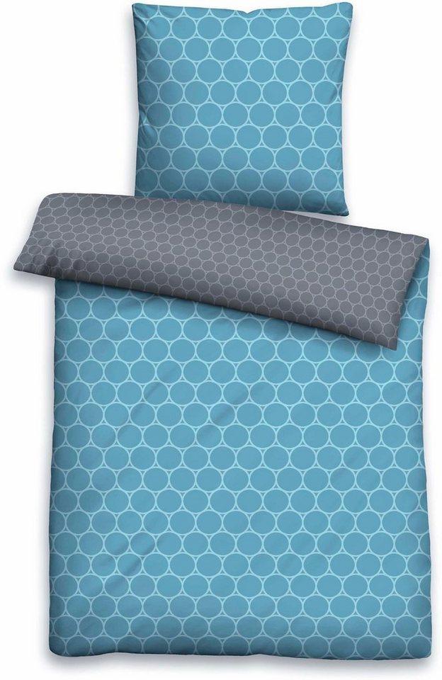 Bettwäsche, Biberna, »Liss«, mit Kreisen in blau-grau