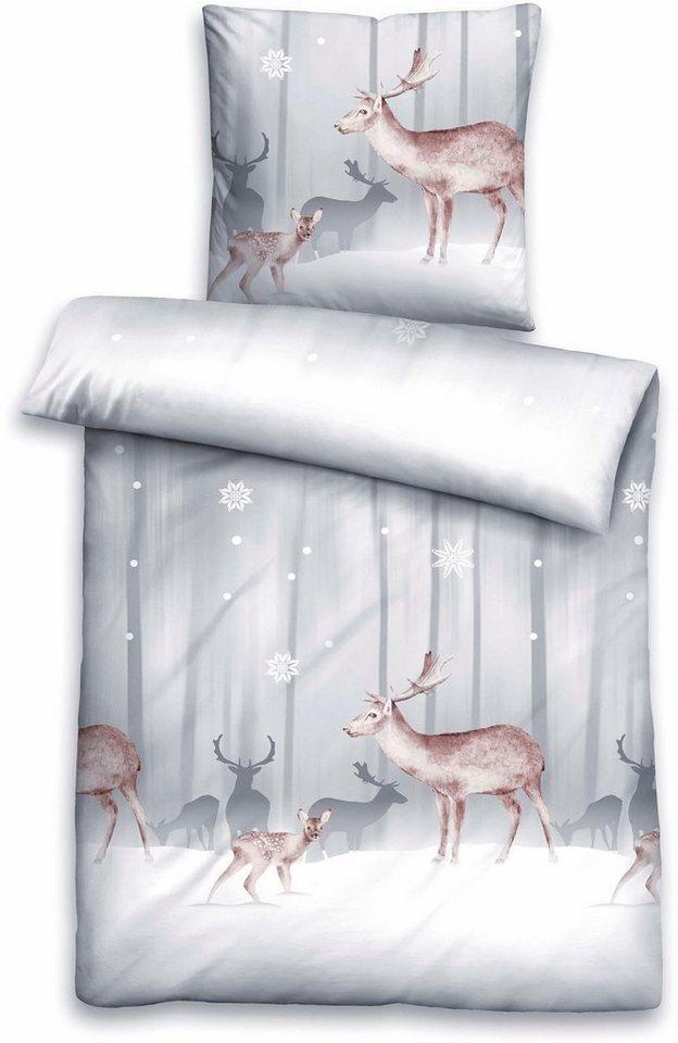 Bettwäsche, Biberna, »Snow Deer«, mit Reh Motiven in grau