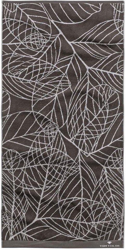Handtücher, Tom Tailor, »Leaves«, mit Blatt-Motiven in anthrazit