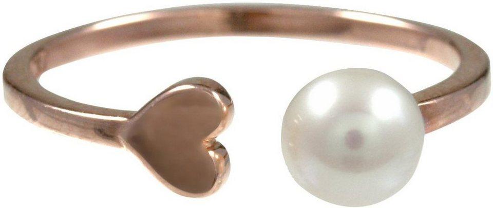 CAÏ Fingerring »Herz, Pearl Love, C7152R/90/46/« mit Süßwasserzuchtperle in Silber 925-roségoldfarben-weiß