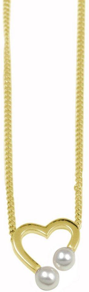 CAÏ Kette ohne Anhänger »Herz, Pearl Love, C7162N/90/46/39+5« mit Süßwasserzuchtperlen in Silber 925-goldfarben-weiß