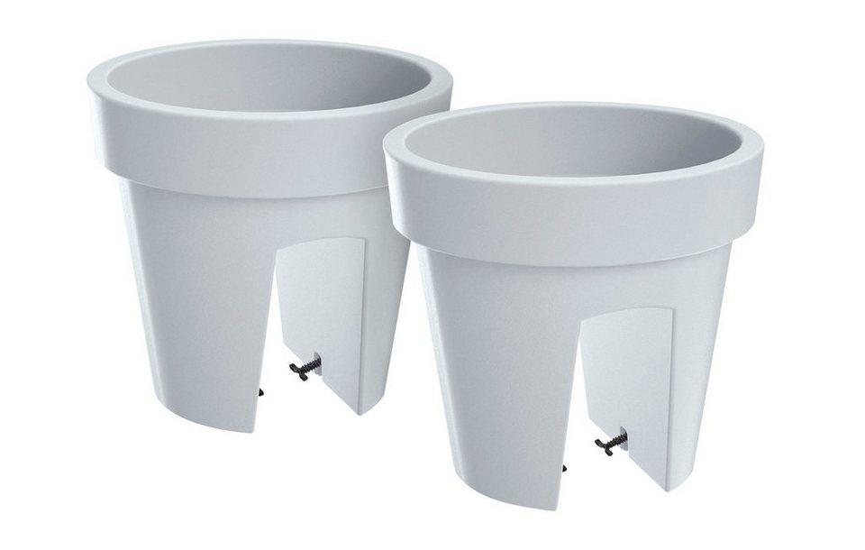 Set: Blumentopf »Lofly Railing 400«, 2 Stk., weiß, B/T/H: 25/25/23 cm in weiß