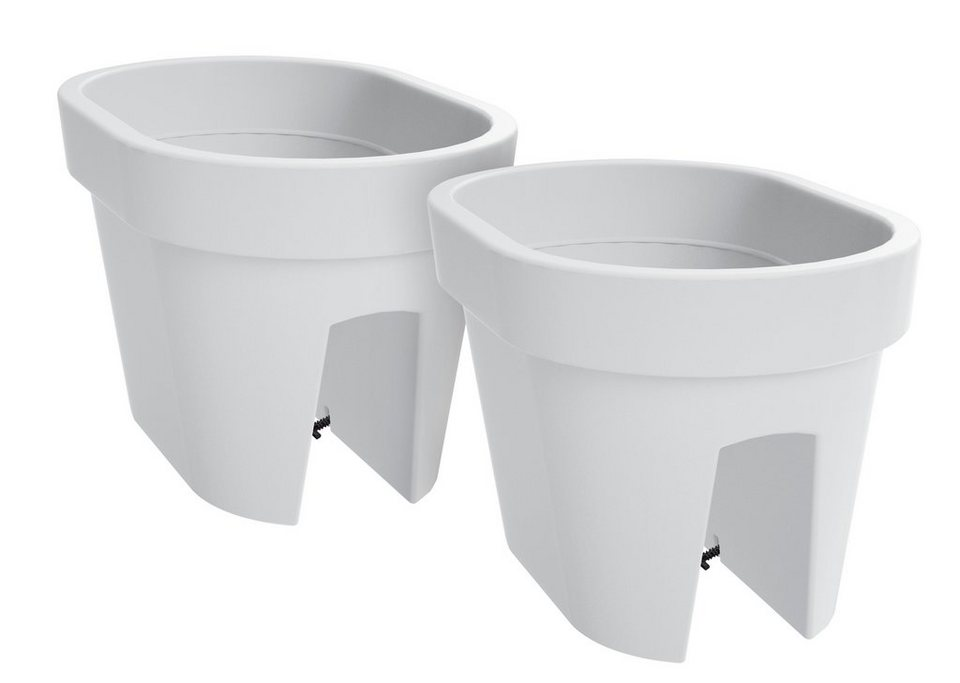 Set: Blumentopf »Lofly Railing 400 XL«, 2 Stk., weiß, B/T/H: 40/40/25 cm in weiß