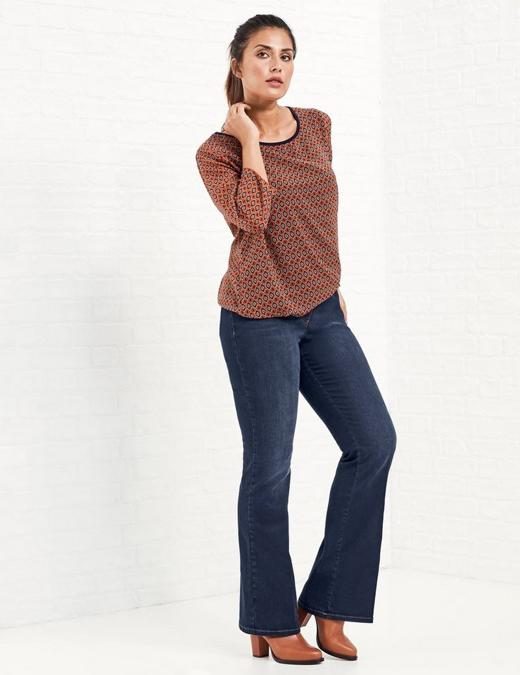 Samoon Hose Jeans lang »Flared-Jeans, Betty« in Blau Denim