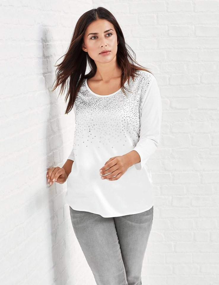 Samoon T-Shirt 3/4 Arm Rundhals »Edles Shirt mit Strasssteinchen« in Offwhite Applikation