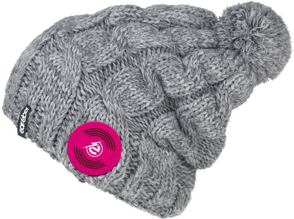 earebel Mütze mit integrierten Kopfhörern, grau, »earebel Beanie Trenza« in grau