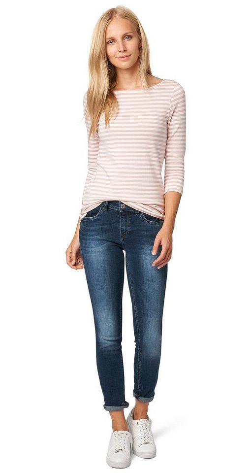 TOM TAILOR Jeans »Jeans in Used-Optik« in stone blue denim