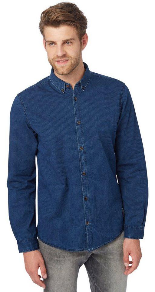 TOM TAILOR Hemd »floyd indigo herringbone shirt« in knitted navy