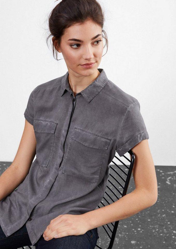 Q/S designed by Garment Dye-Bluse mit Struktur in dark grey