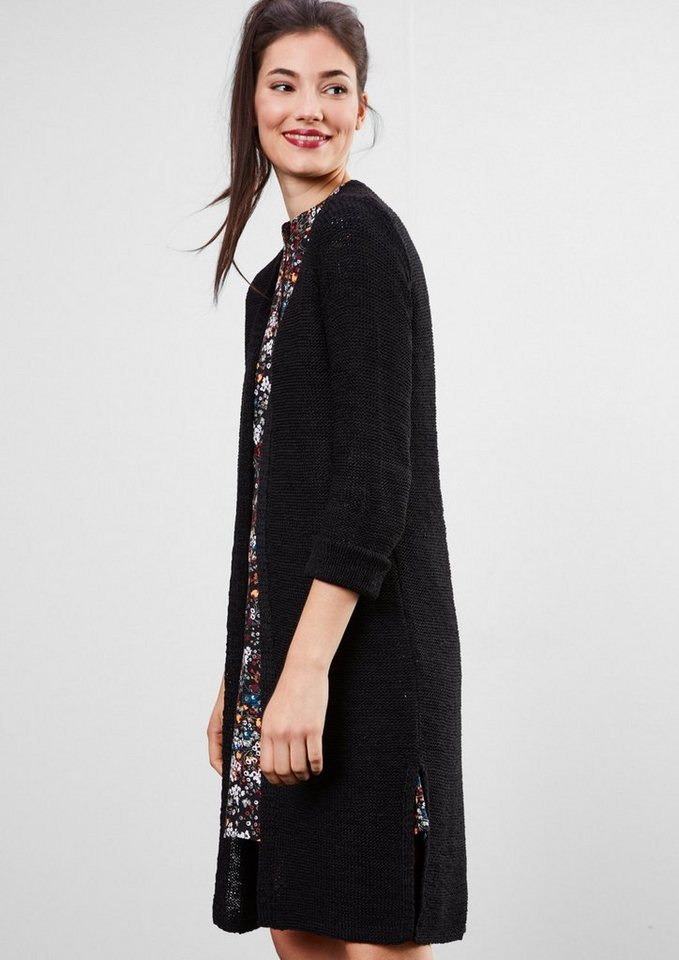 Q/S designed by Grob gestrickter Longcardigan in black
