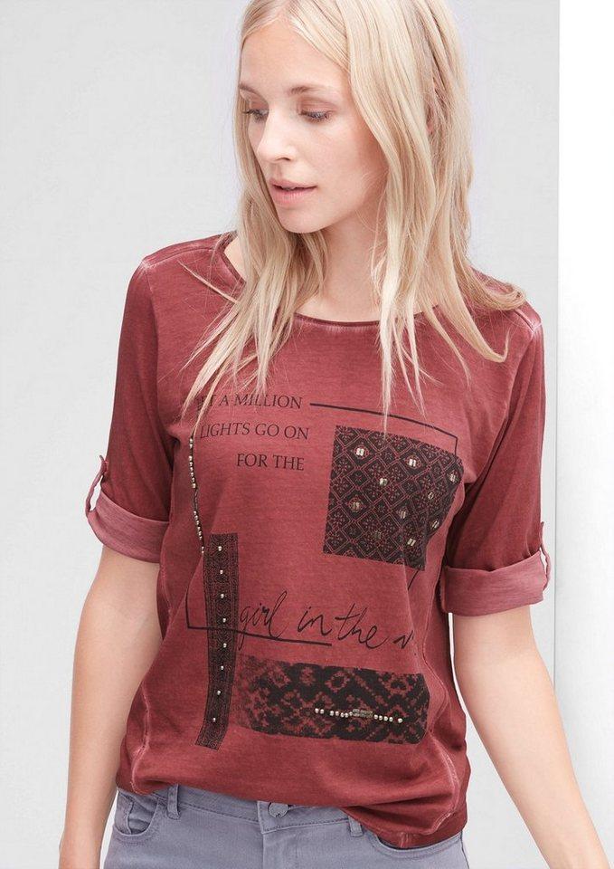 s.Oliver RED LABEL Garment Dye-Shirt mit Zierperlen in deep scarlet red pla