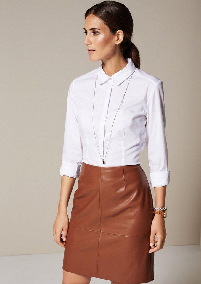 COMMA Feminine Bluse mit smarten Details in white