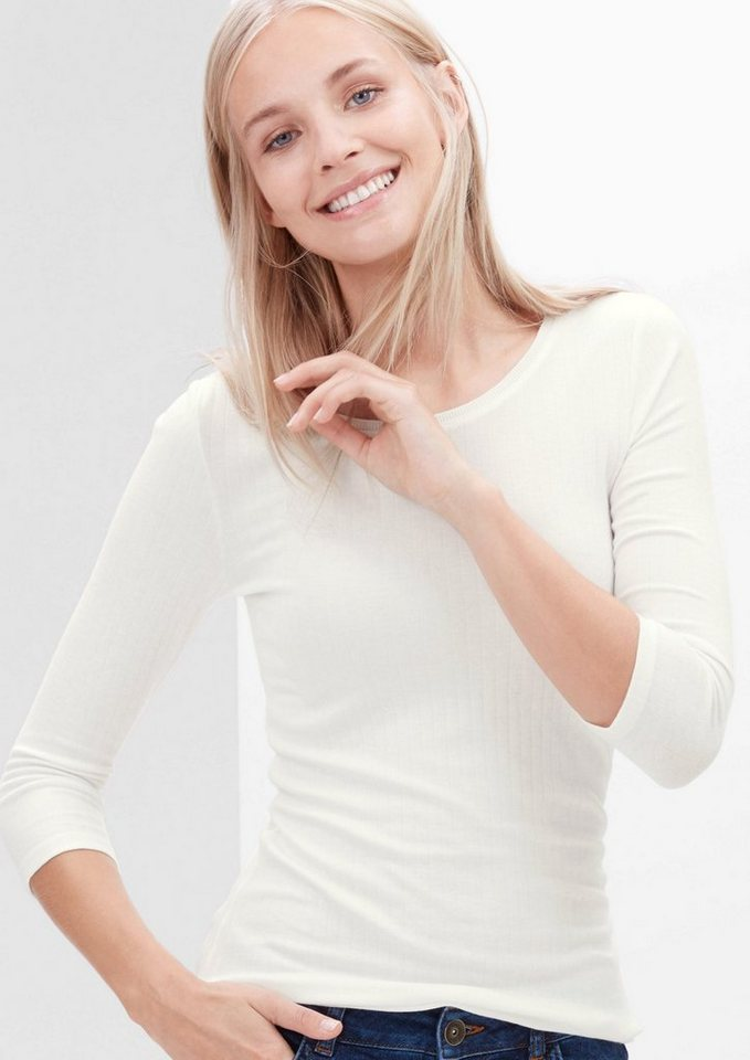 s.Oliver RED LABEL Rippshirt mit 3/4-Arm in creme