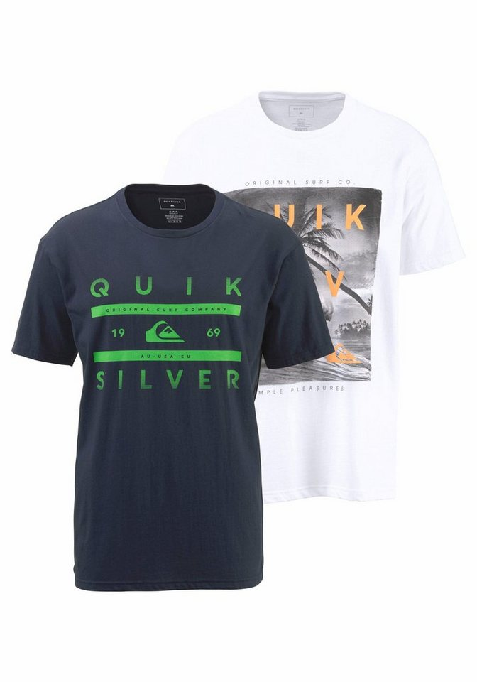 Quiksilver T-Shirt »PACK SS TEE YM GRID REEF« in marine-weiß