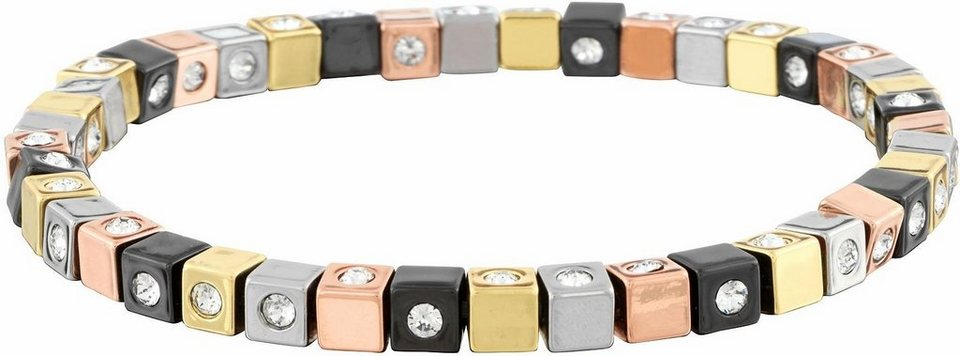 Lolaandgrace Armband »CUBE BRACELET, 5117297« mit Swarovski® Kristallen in goldfarben-roségoldfarben-silberfarben-schwarz