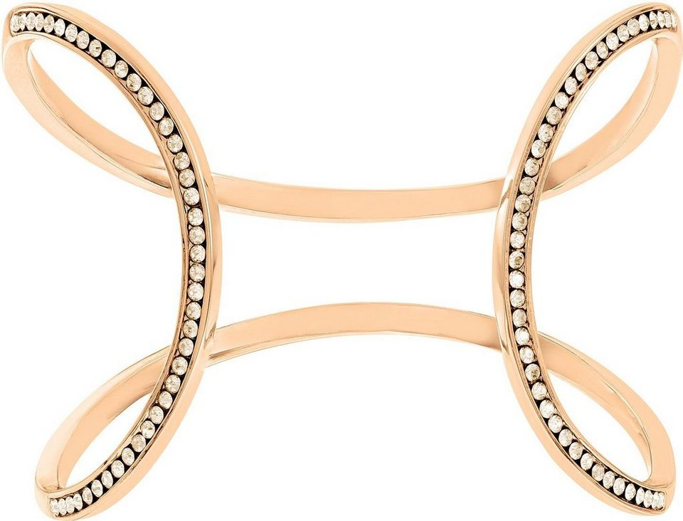 Lolaandgrace Armspange »MILAN OPEN CUFF, 5182872« mit Swarovski® Kristallen in roségoldfarben-weiß