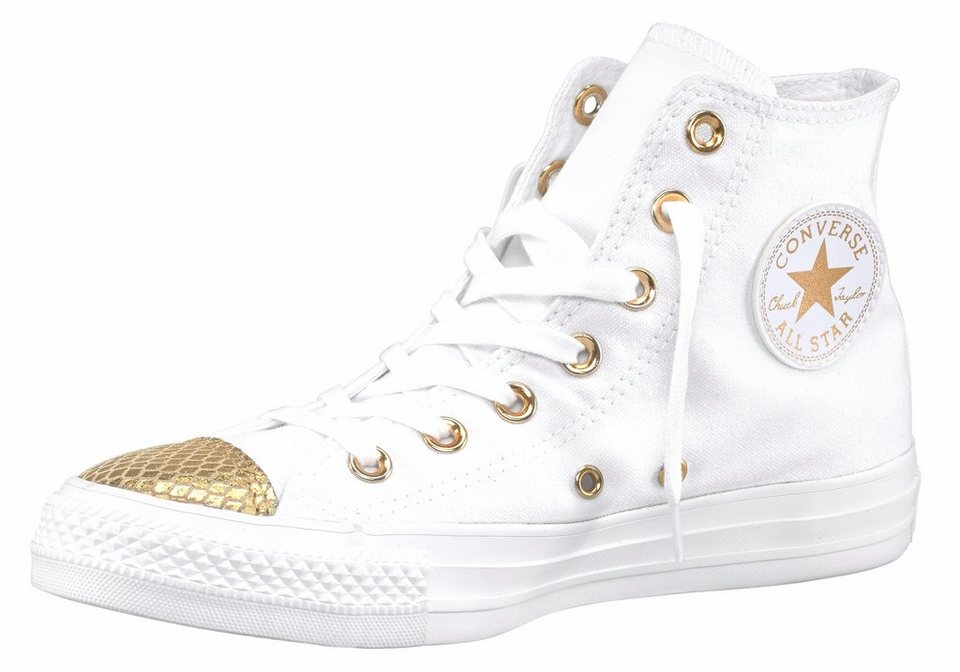 Converse »Chuck Taylor All Star Metallic Toecap Hi« Sneaker in weiß-goldfarben