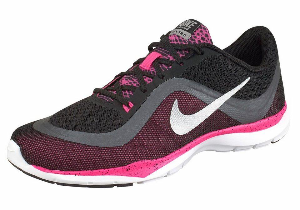 Nike »Flex Trainer 6 Wmns« Fitnessschuh in schwarz-silberfarben