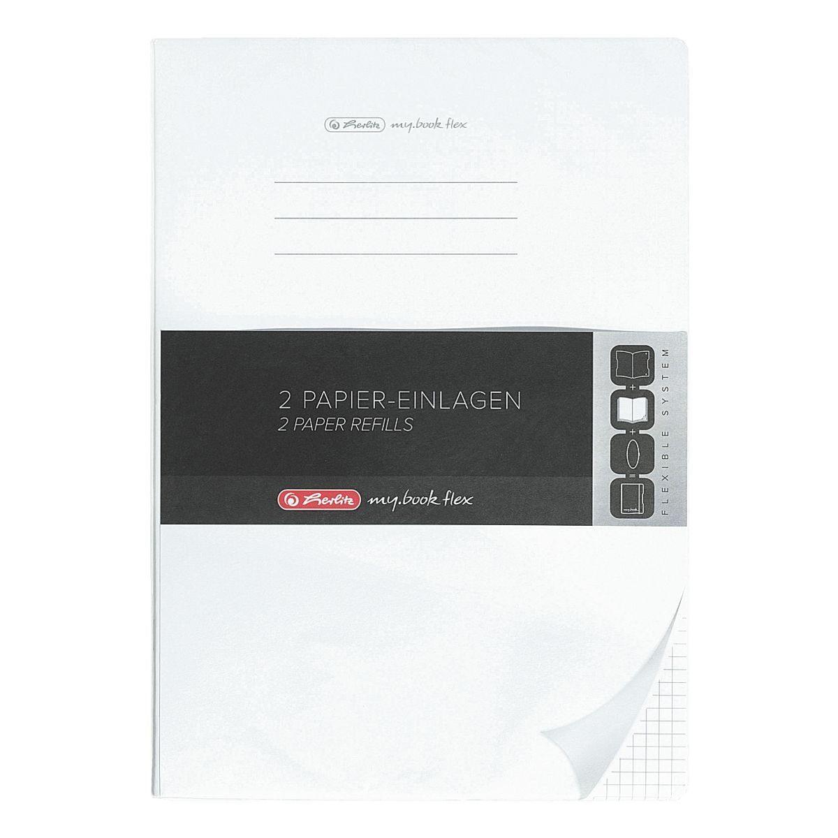 2er-Pack Papiereinlagen A4 kariert - 2x 80 Seiten »my.book flex«