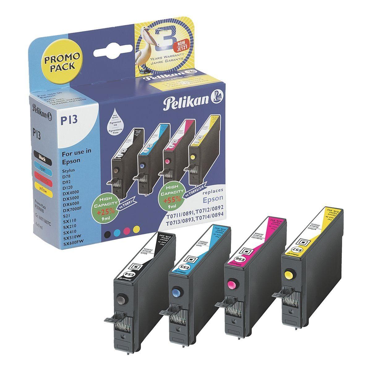 Pelikan Tintenpatronen-Set ersetzt Epson »T0715 BK/C/M/Y«